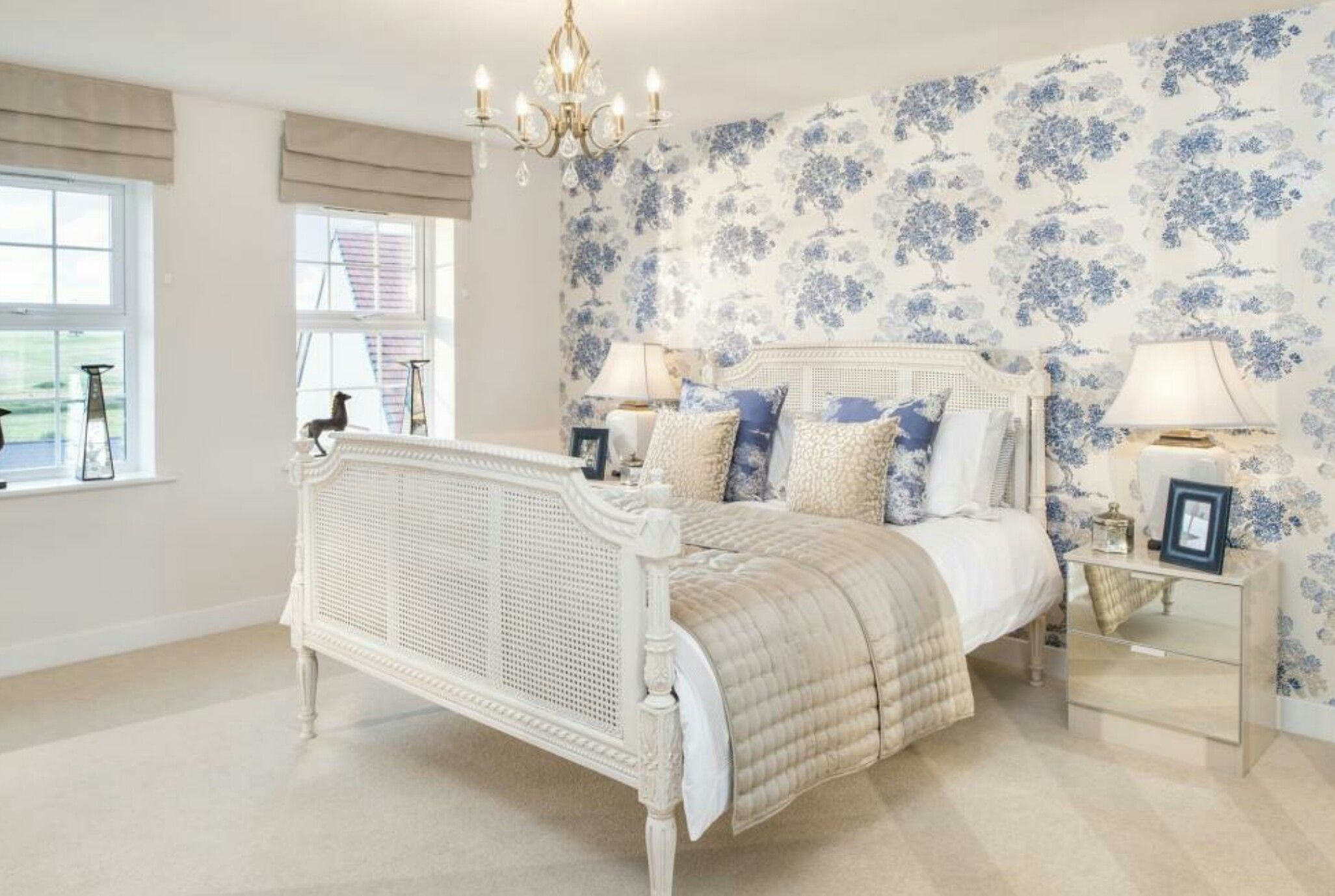 Interior Designed Guest Bedroom. French white painted cane