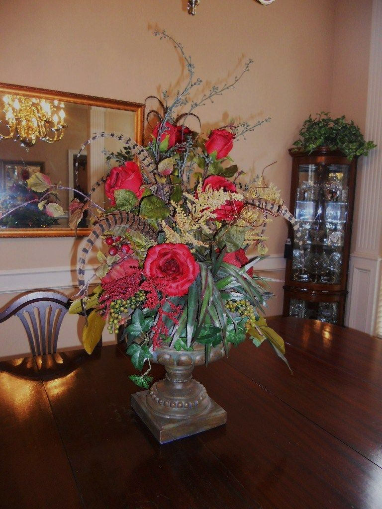 Dining Table Centerpiece Ideas Burkett Blessings Decorating With Floral Arrange Table Floral Arrangements Table Flower Arrangements Dining Table Centerpiece