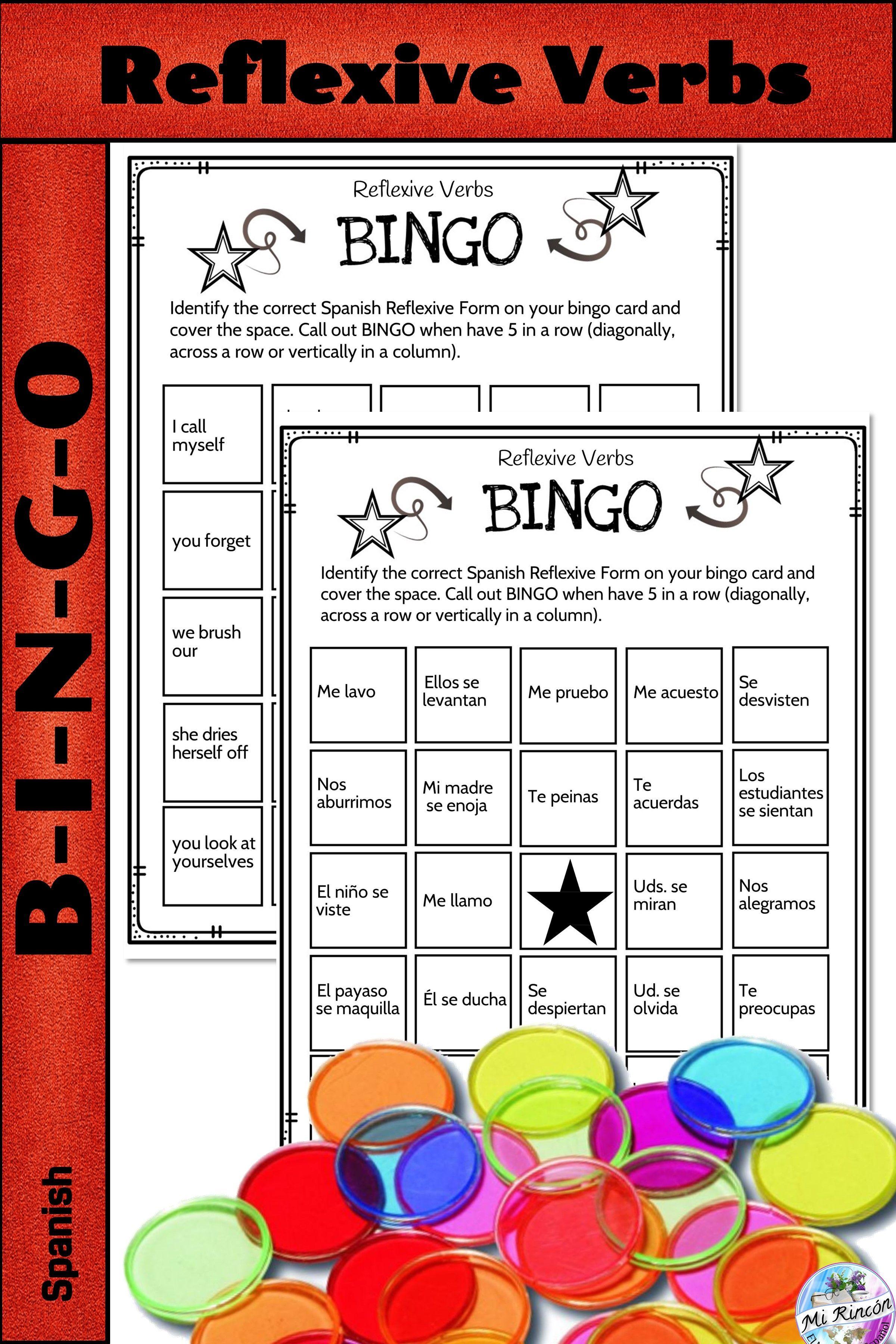 Spanish Reflexive Verbs Game Bingo