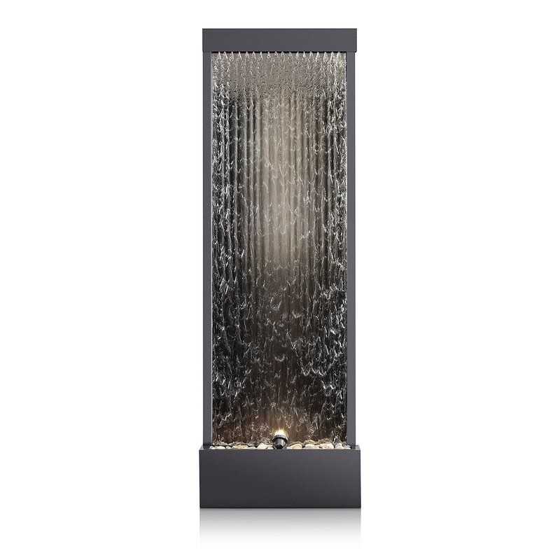 Metal Mirror Waterfall Fountain With Light In 2020 Waterfall Fountain Metal Mirror Stone Fountains