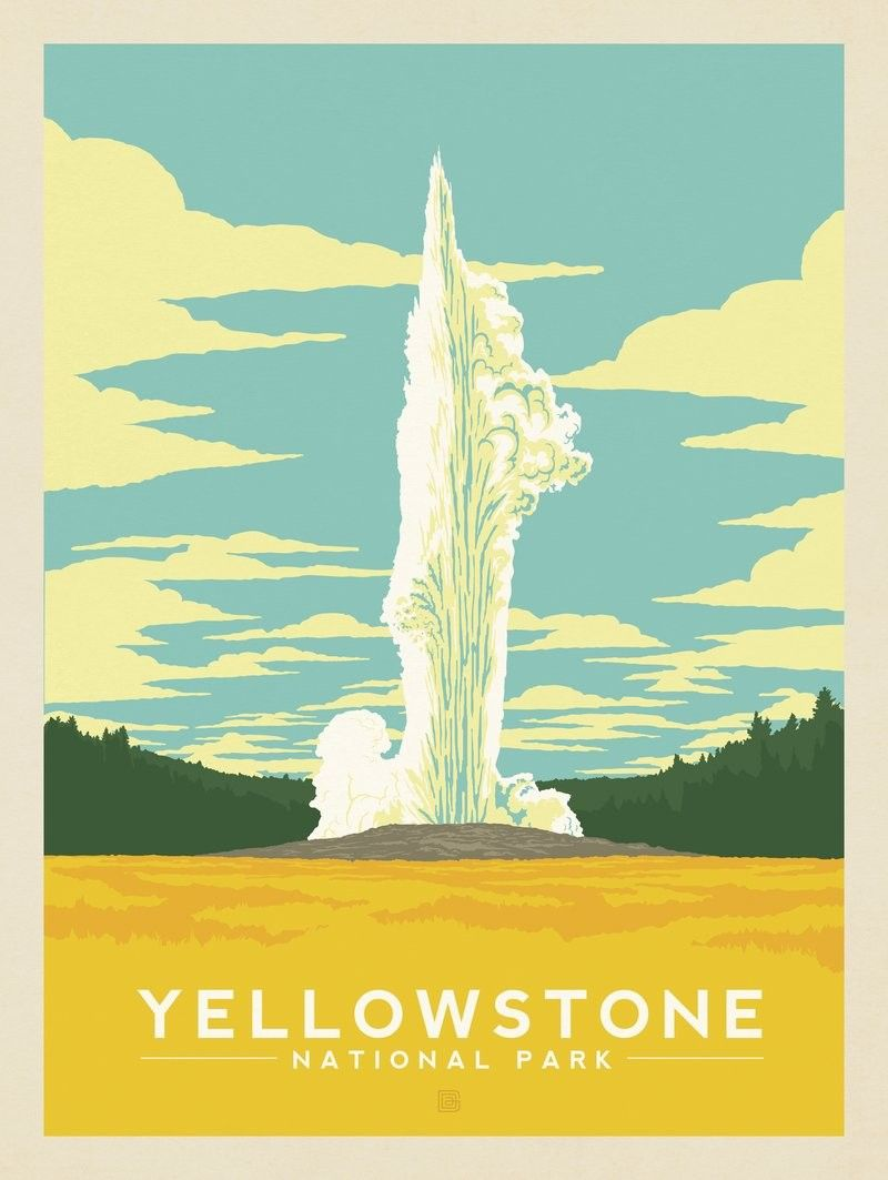 Anderson Design Group 61 American National Parks Yellowstone National Park Old Faithful National Park Posters Vintage Travel Posters Retro Travel Poster
