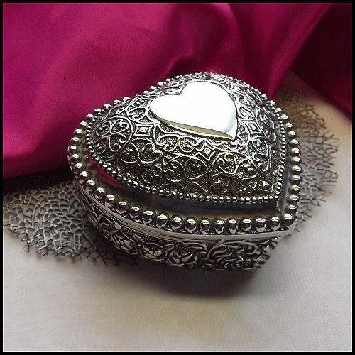 Vintage Silver Heart Jewelry Box Roses w Scrolls Vanity Trinket