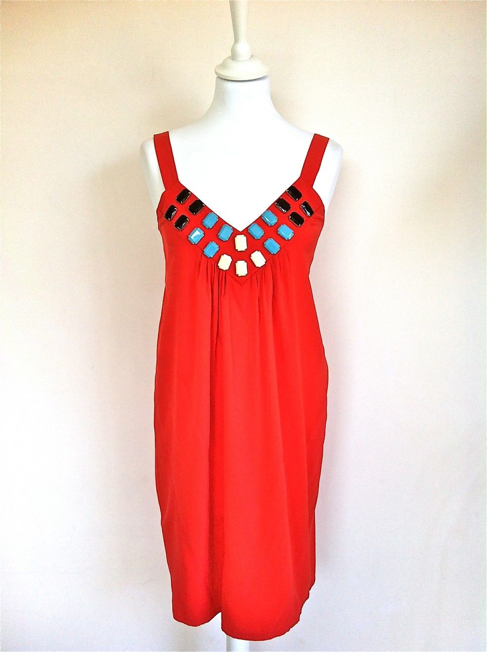 Prairie Coral Silk Sundress WIth Jewel Embellishments via The Queen Bee. Click on the image to see more!