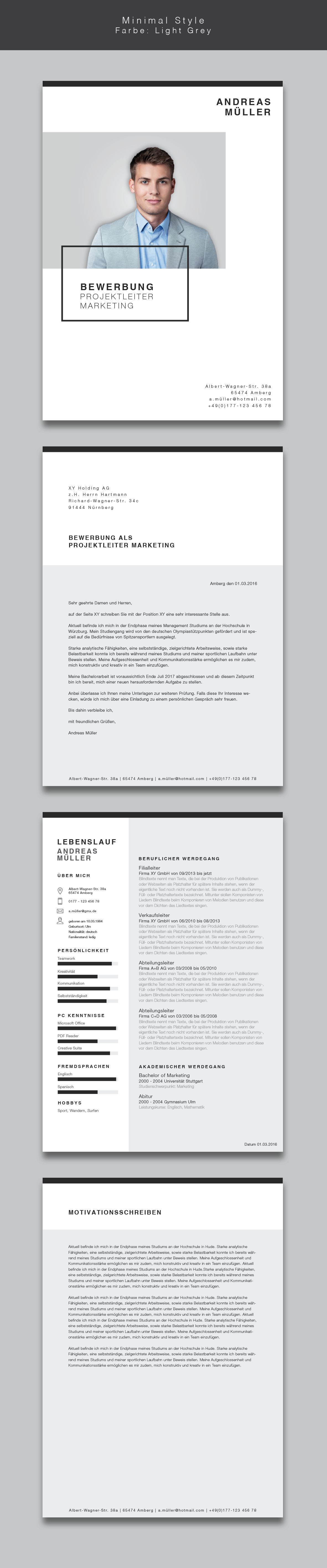 Bewerbungsvorlage / Lebenslauf Minimal Style #interfacedesign
