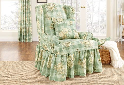 Juliet Wing Chair Slipcover Country Casual Look Features