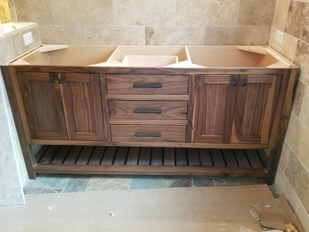 Black Walnut Vanity Base With Tung Oil Finish Custom Built By Northeast Furniture Studio Furniture Vanity Base Vanity