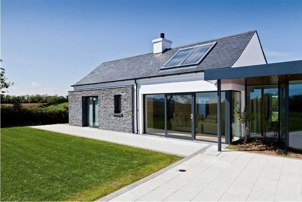 Nice Proportions And The Contrast Of The Stone And Large Windows Work Really Well House Designs Ireland Brick Exterior House Bungalow Exterior