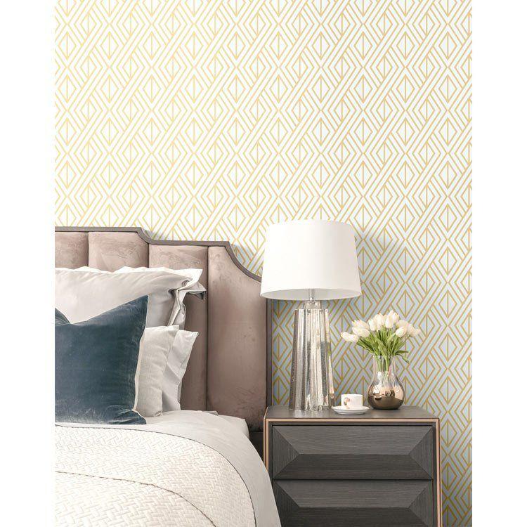 Nextwall Peel Stick Diamond Geometric Metallic Gold White Wallpaper Peel And Stick Wallpaper Decor Home Decor