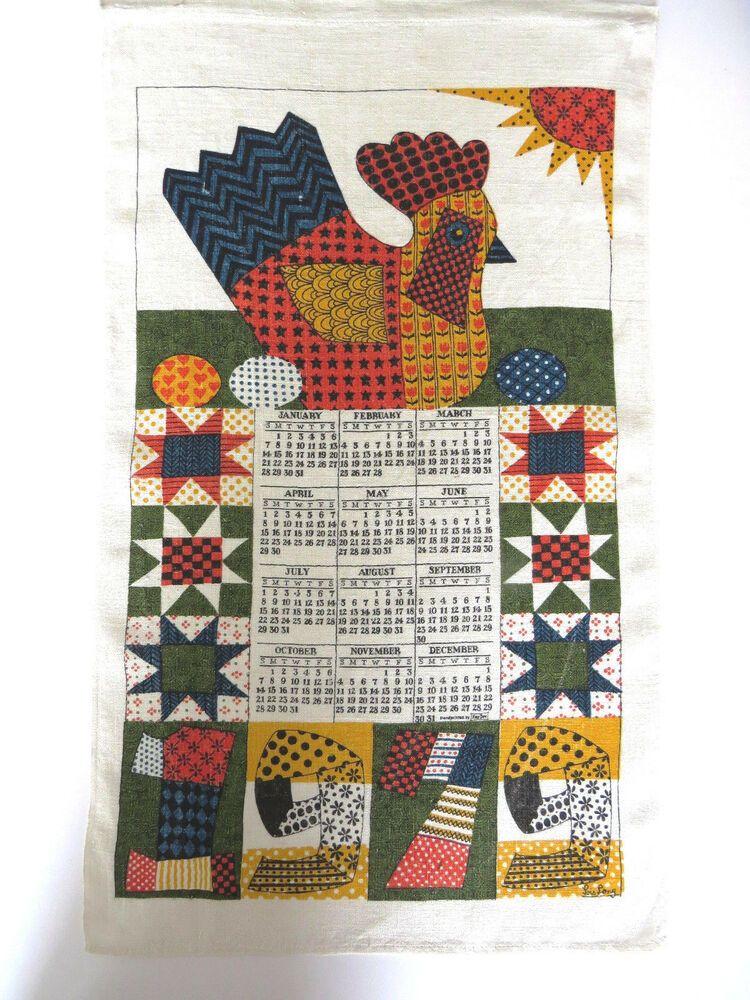 Lois Long 1979 Calendar Tea Towel Retro Calico Chicken Farmhouse