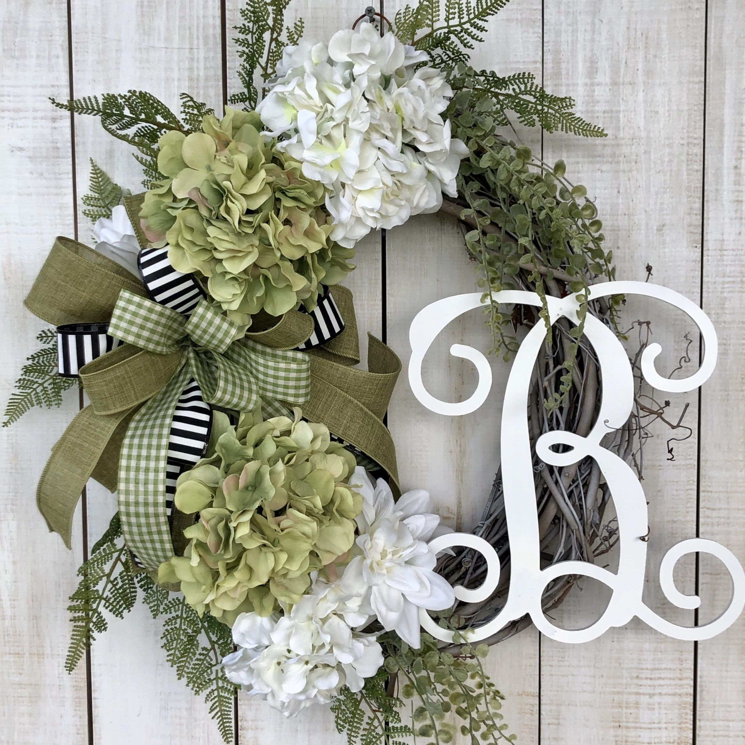 Monogram wreaths, Everyday wreath, farmhouse wreath, Hydrangea wreath, all season wreath, everyday wreath for front door, Christmas gift, #Christmas #Door #Everyday #Farmhouse #Front #Gift #Hydrangea #Monogram #season #Wreath #Wreaths