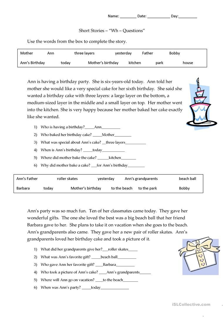 - Short Stories Wh-questions - Answers Worksheet - Free ESL