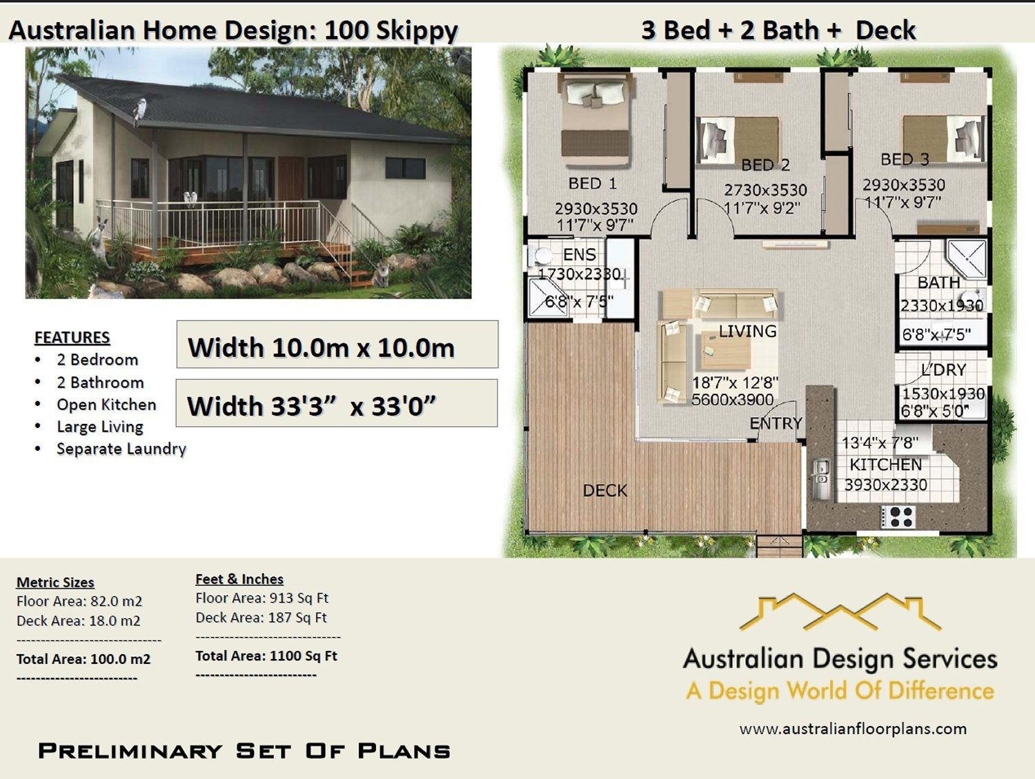 3 Bedroom Country Style House Plan