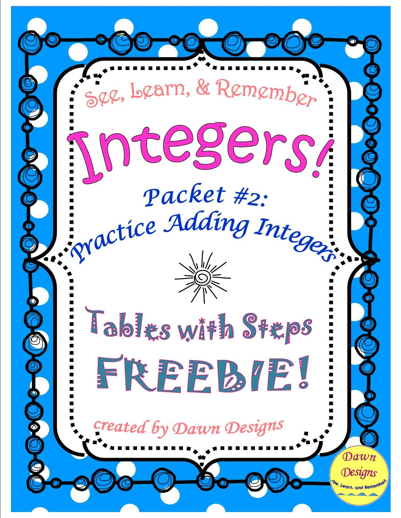 Integer Worksheet Intro To Adding Integers 2