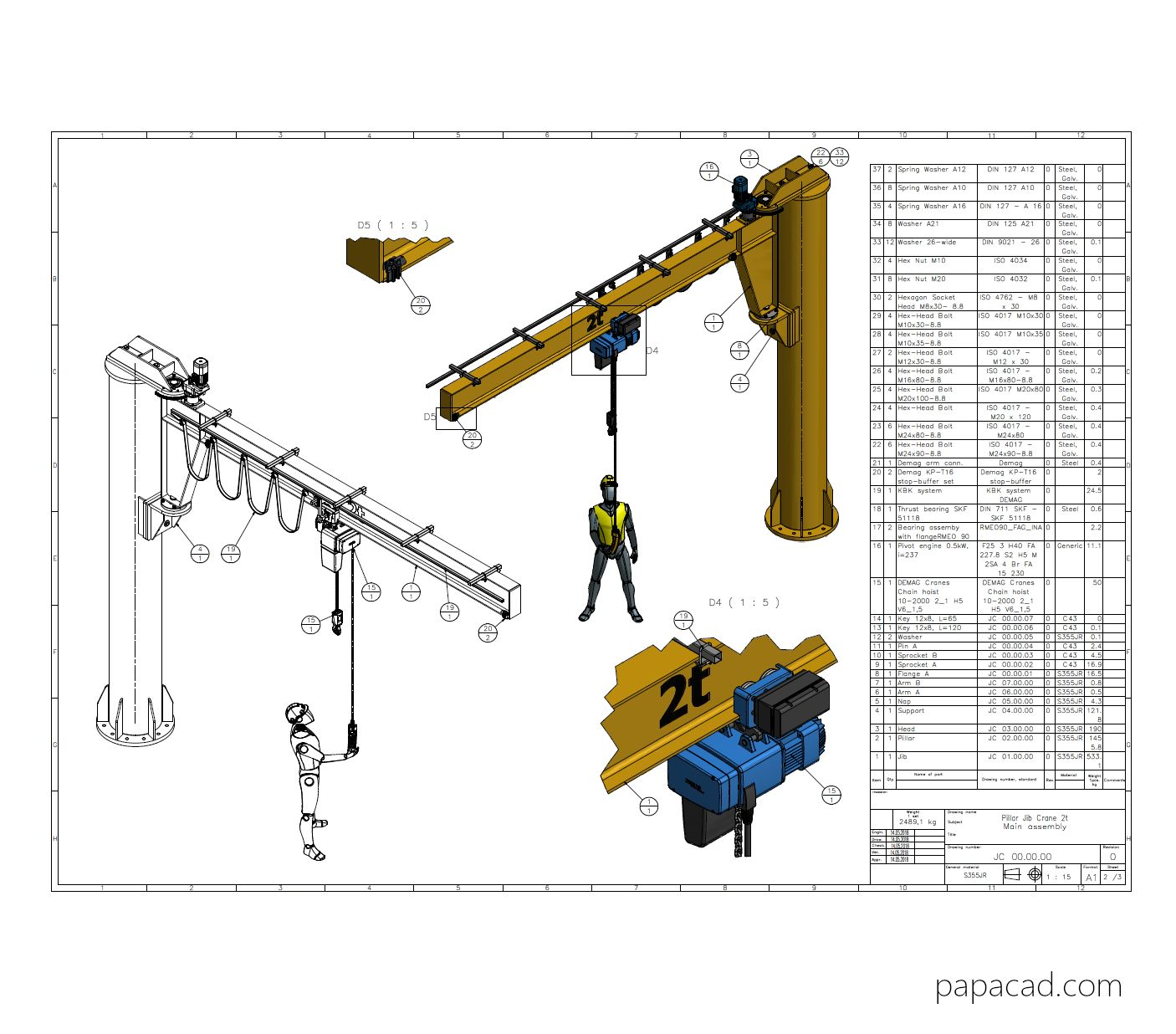 Pin On Diy Jib Crane Complete 3d And 2d Cad Project With 3