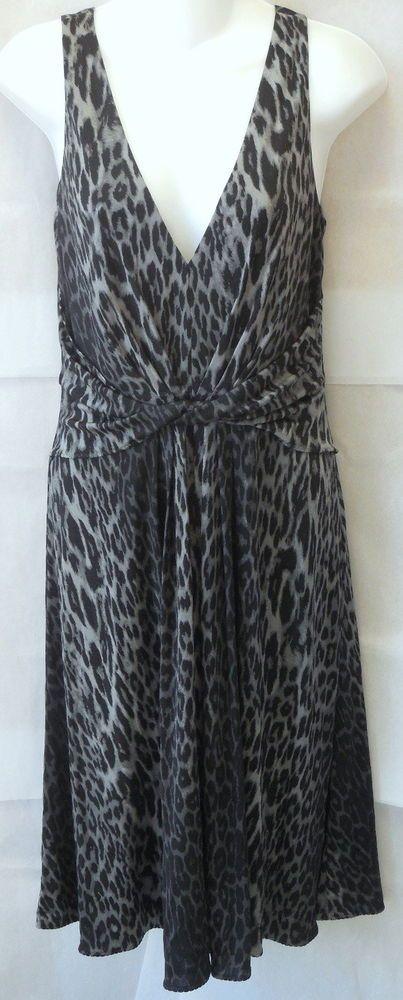 72271591e413 ELIE TAHARI Julian Dress NEW $378 Medium Gray & Black Leopard Print Jersey  M #ElieTahari #SheathDress #PartyCocktail