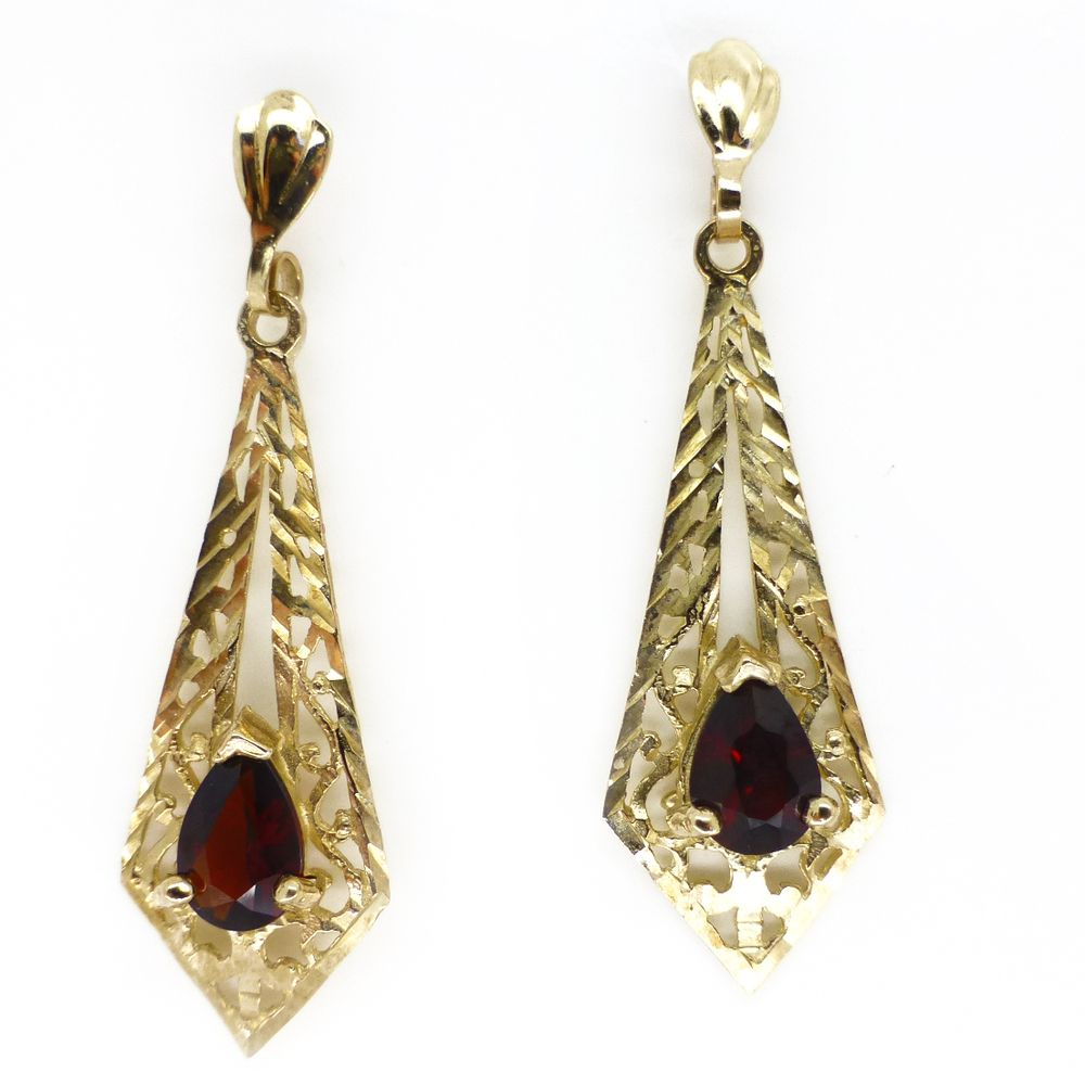 Vintage 9ct Gold Victorian Diamond Drop Earrings Clarice Jewellery Costume