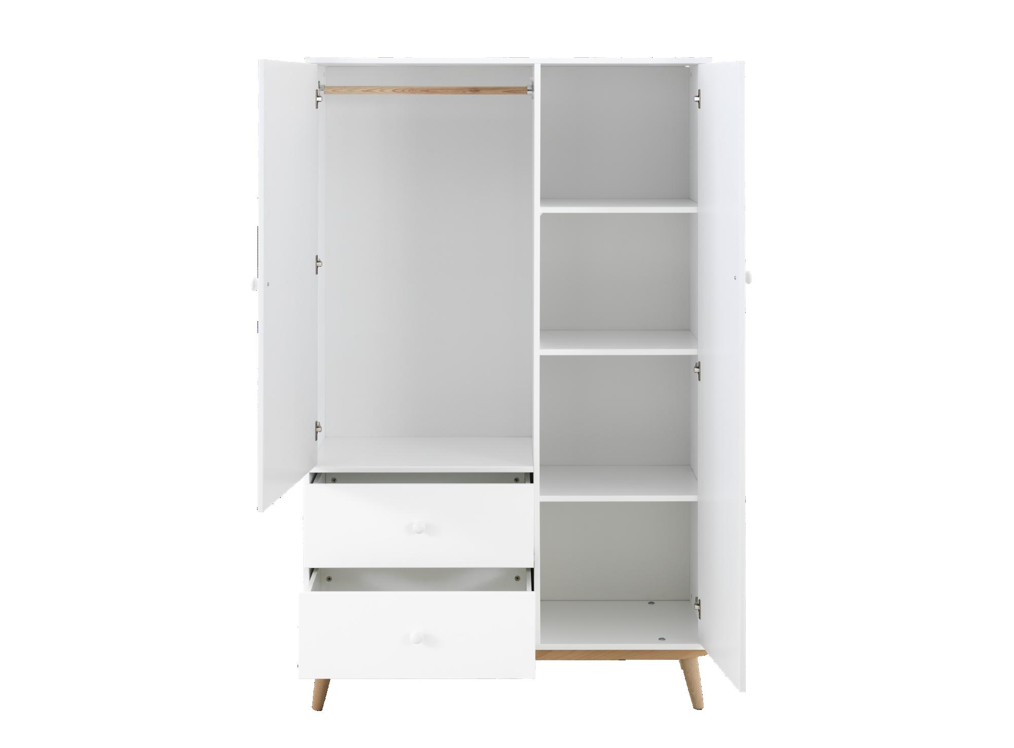 Armoire 2 portes blanc / pieds bois - Armoire - Chambre - Meuble ...