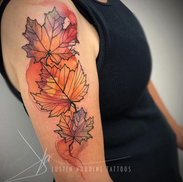 60 Utterly Beautiful Watercolor Tattoos We Love Autumn Tattoo