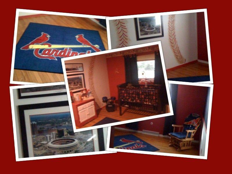 My Sons Stl Cardinals Room Baseball Wall Chalk Board Closet Doors And Hand Made Crib Set