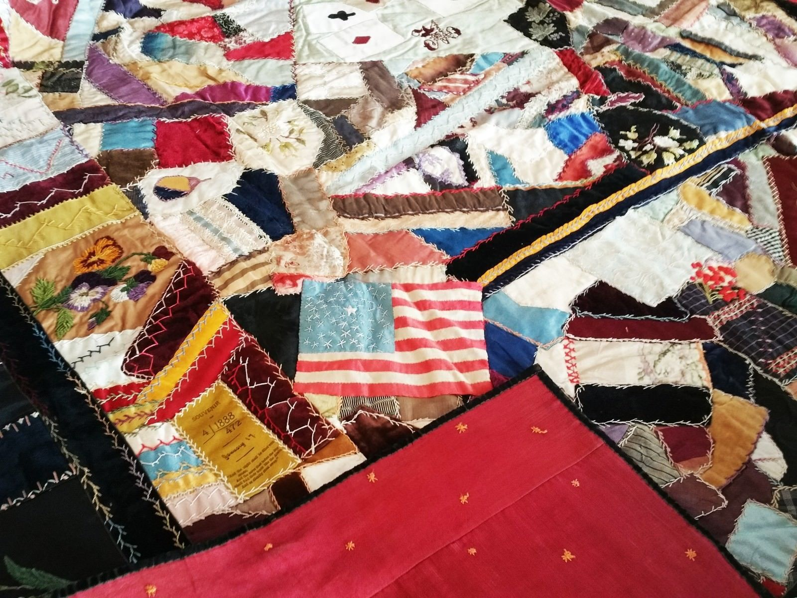 Antique large crazy quilt s playing cards and souvenir ribbon