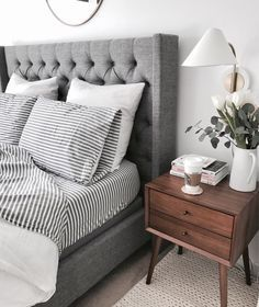 Gray Bed, Bedroom Decor Home Decor Inspiration Home Decor, Home Inspiration,  Furniture, Lounges, Decor, Bedroom, Decoration Ideas, Home Furnishingu2026
