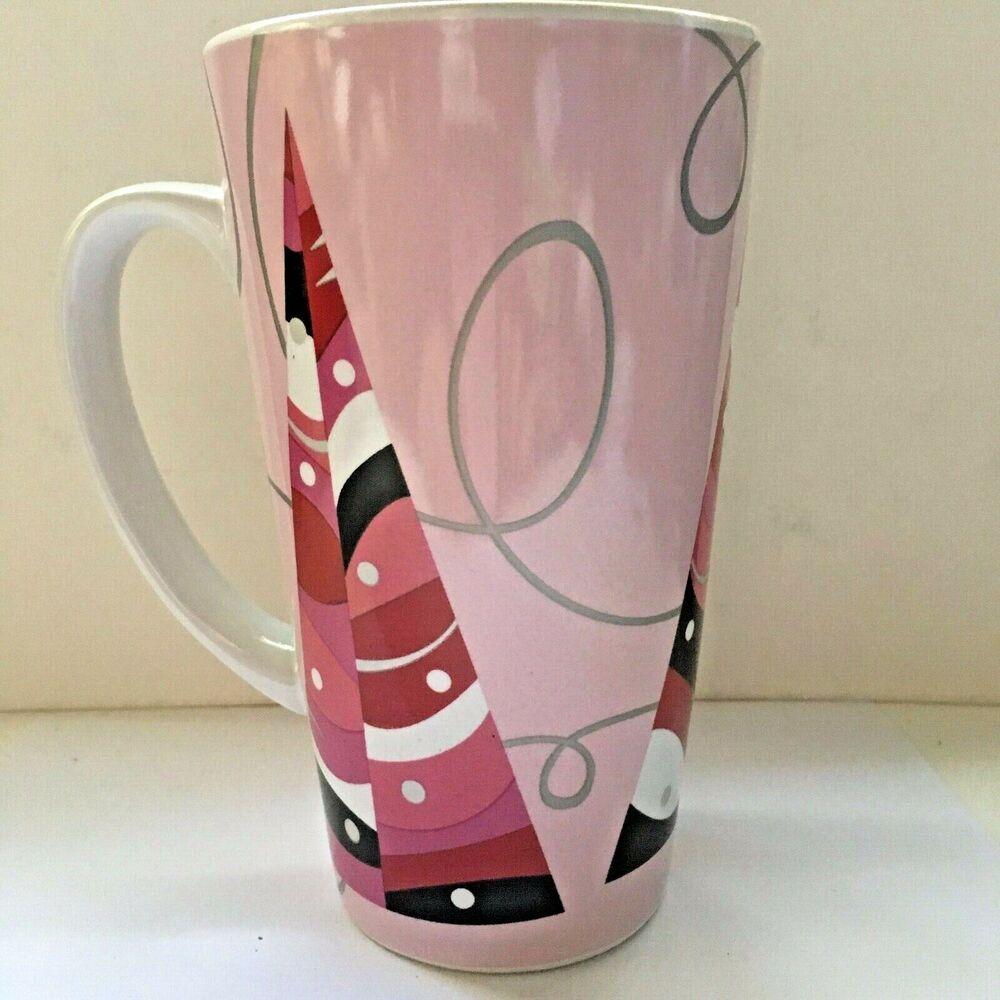 Starbucks 2004 Tall Latte Mug Cup Pink Christmas Holiday