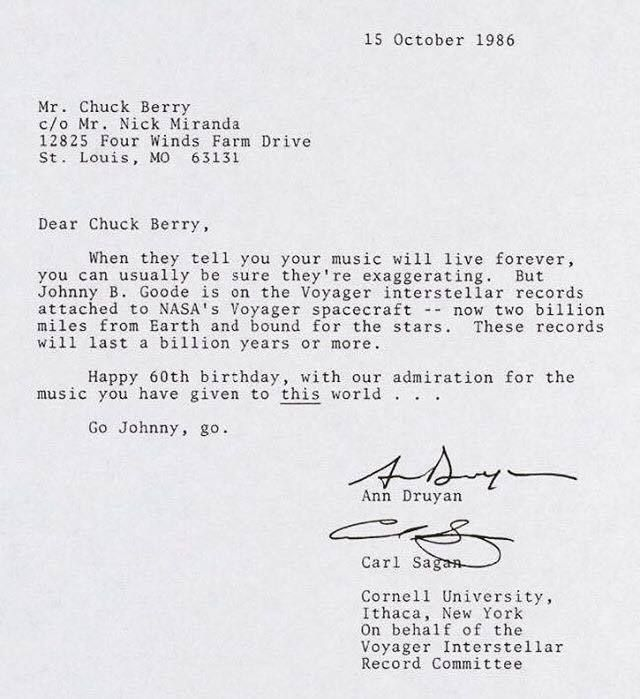 Carl SaganS Letter To Chuck Berry  Spaceship  Interesting