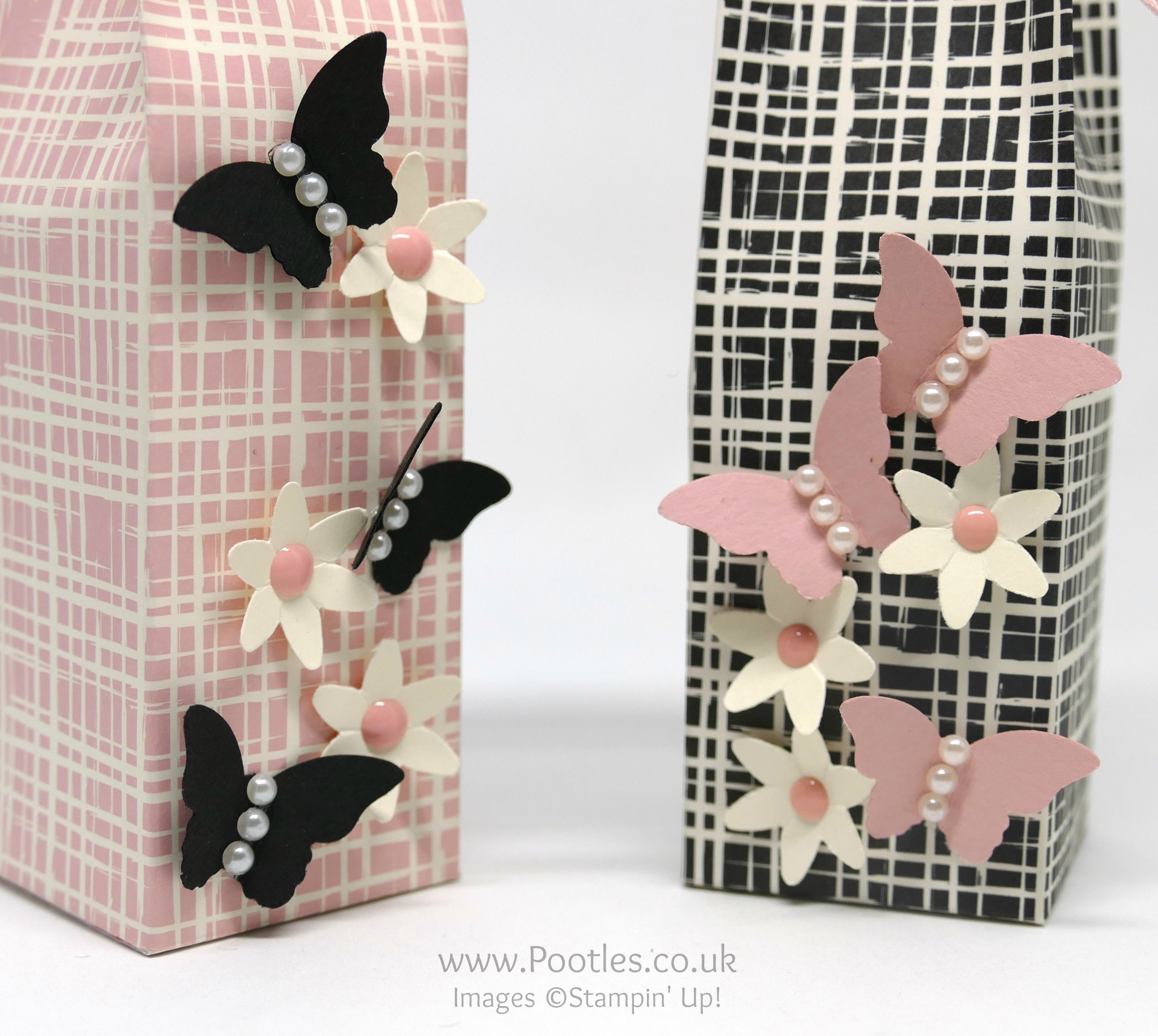 """Playful Palette, Bitty Butterfly & Blossom Bunch punches, Pearls,  Very Vanilla & Blushing Bride 3/8"""" Stitched Satin Ribbon, Subtles Enamel Shapes - 6 x 6 Elegant Bags"""