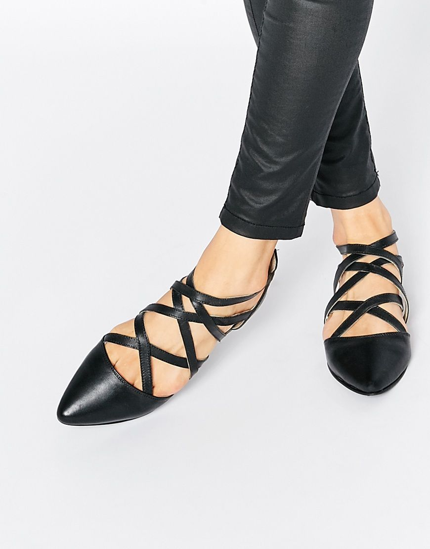 Park Lane Strappy Leather Flat Shoes at
