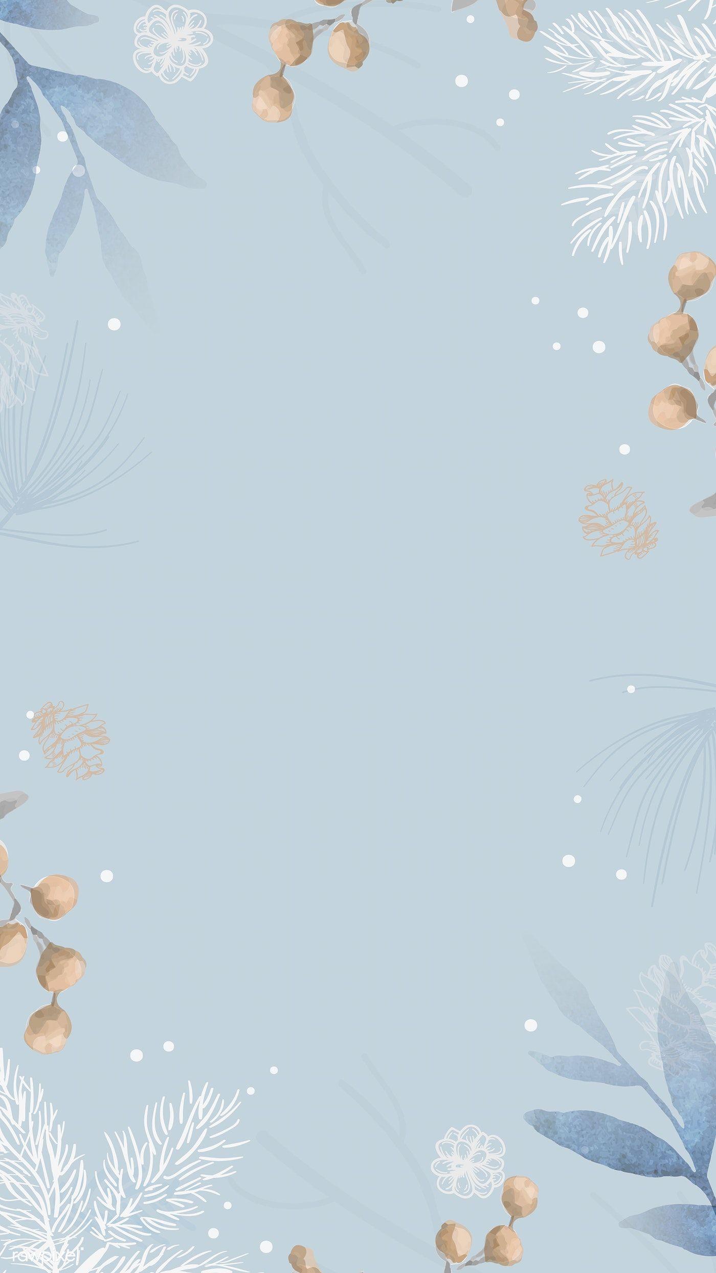 Download premium vector of Blank leafy frame mobile wallpaper vector