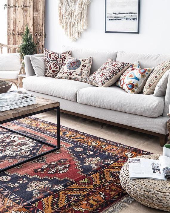 Handmade turkish rug vintage rug 1950s bohemian rug area | Etsy