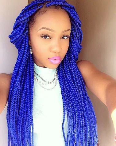 Colour Braid Box Braids Hairstyles For Black Women Blue Box Braids Box Braids Hairstyles