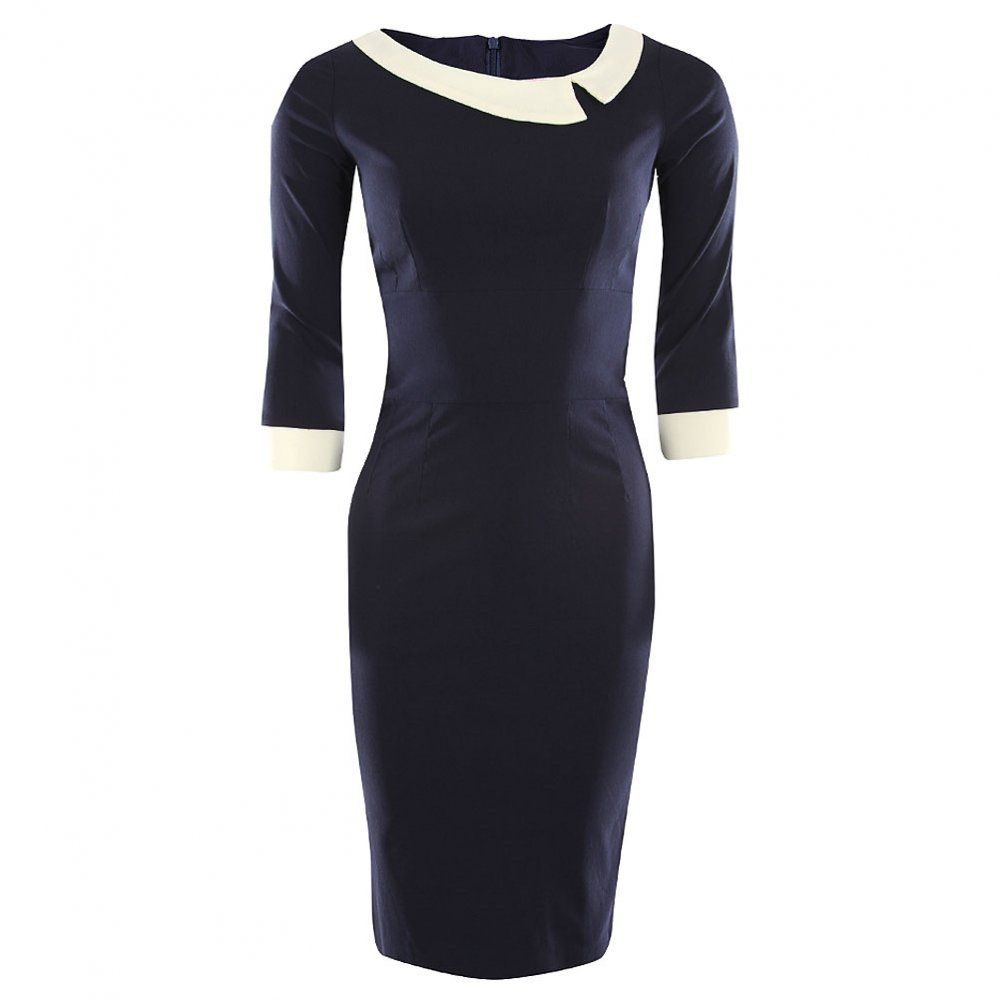 So Couture Womens Navy Contrast Collar Dress Fashion
