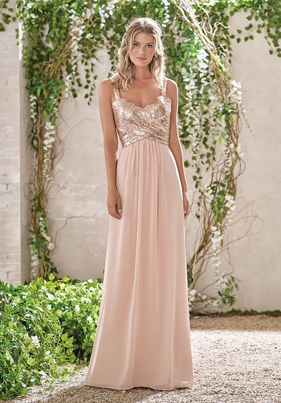 e74dc78b48b Poly Chiffon Dress in Peach and Rose Gold Sequin