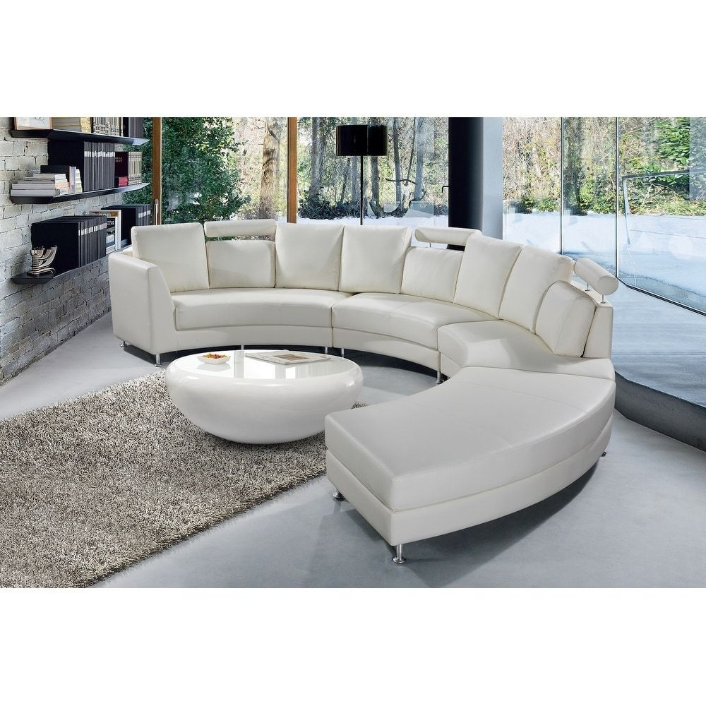 Wondrous Shop Modern White Leather Circular Sofa Rossini On Sale Dailytribune Chair Design For Home Dailytribuneorg