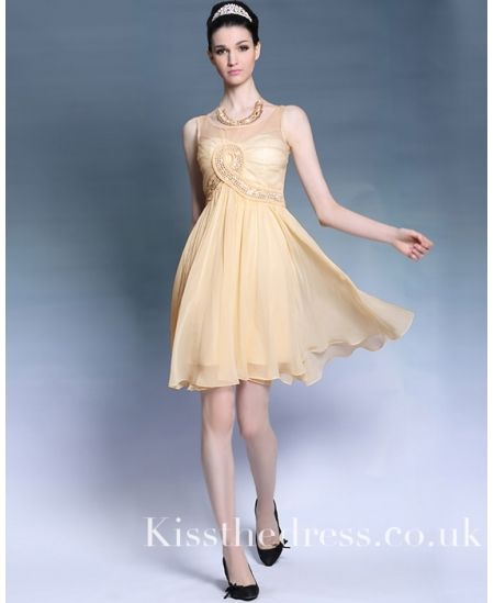 Yellow Chiffon Empire Knee-length Short Cocktail Prom Dress DLQ6071