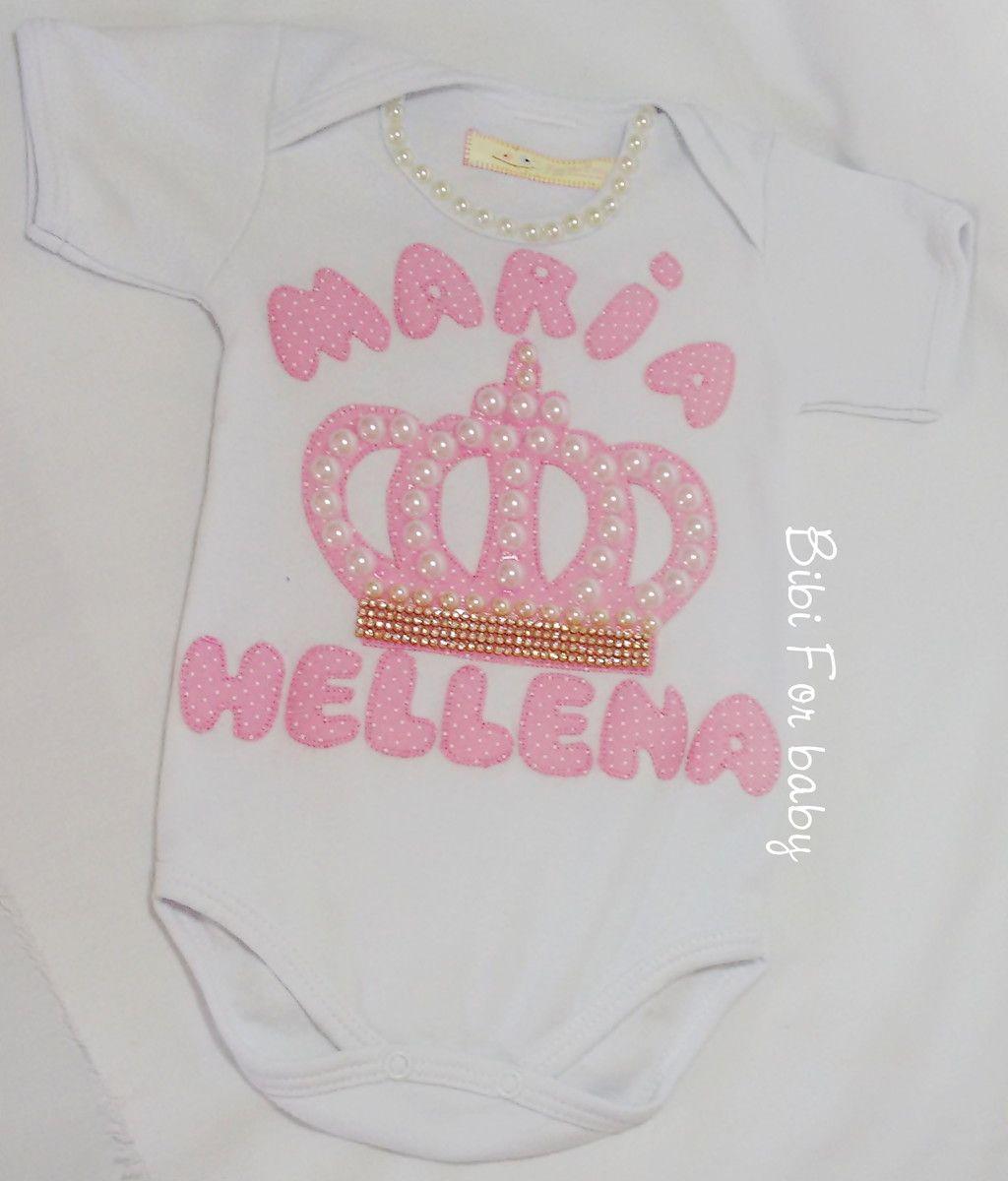 ce6b9c92f Body Personalizado Princesinha Trabalho artesanal, e personalizado. Com  aplicações em pérolas e stras Fazemos em outros nomes e estampas!!!