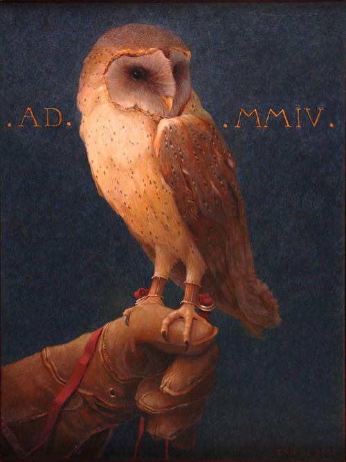 Owl, Eule (G.) uil (N.) Painter Erik de Jong (b.Steenwijk) Netherlands.