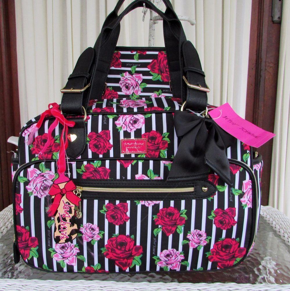 Betsey Johnson Fl Roses Stripe Weekender Baby Diaper Travel Bag 2 Pc Nwt Betseyjohnson Diaperbagweekender