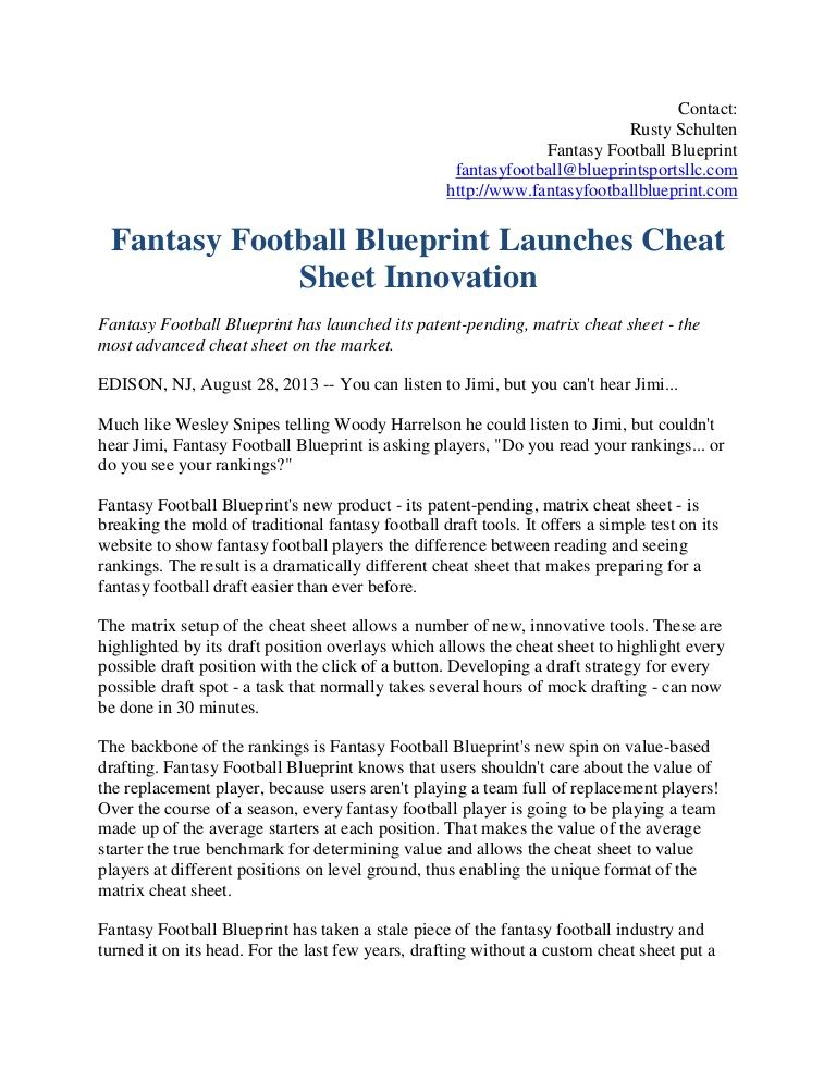 Fantasy Football Blueprint has launched its patent-pending, matrix - how to write a sales plan template