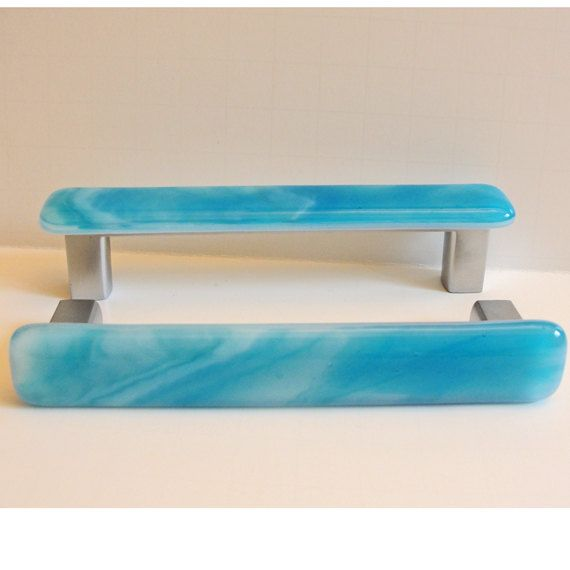 1 Fused Glass Drawer Pull Cabinet Pulls Blue White Home Decor ...