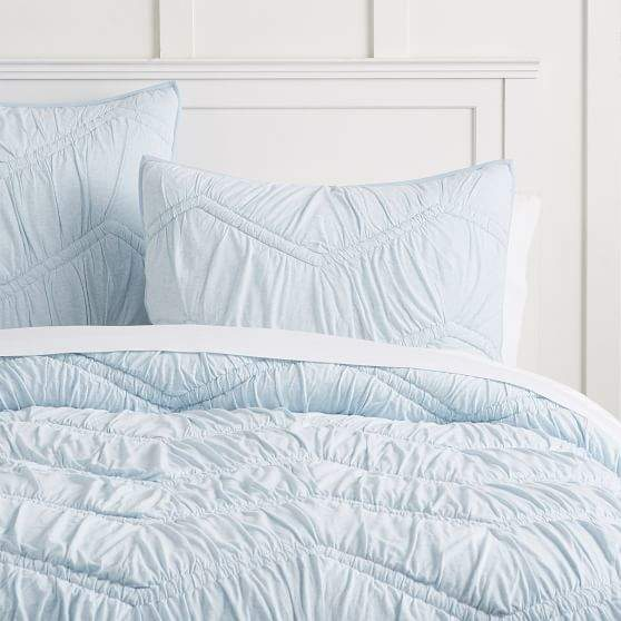 Favorite Tee Ruched Quilt, Full/Queen, Soft Blue images