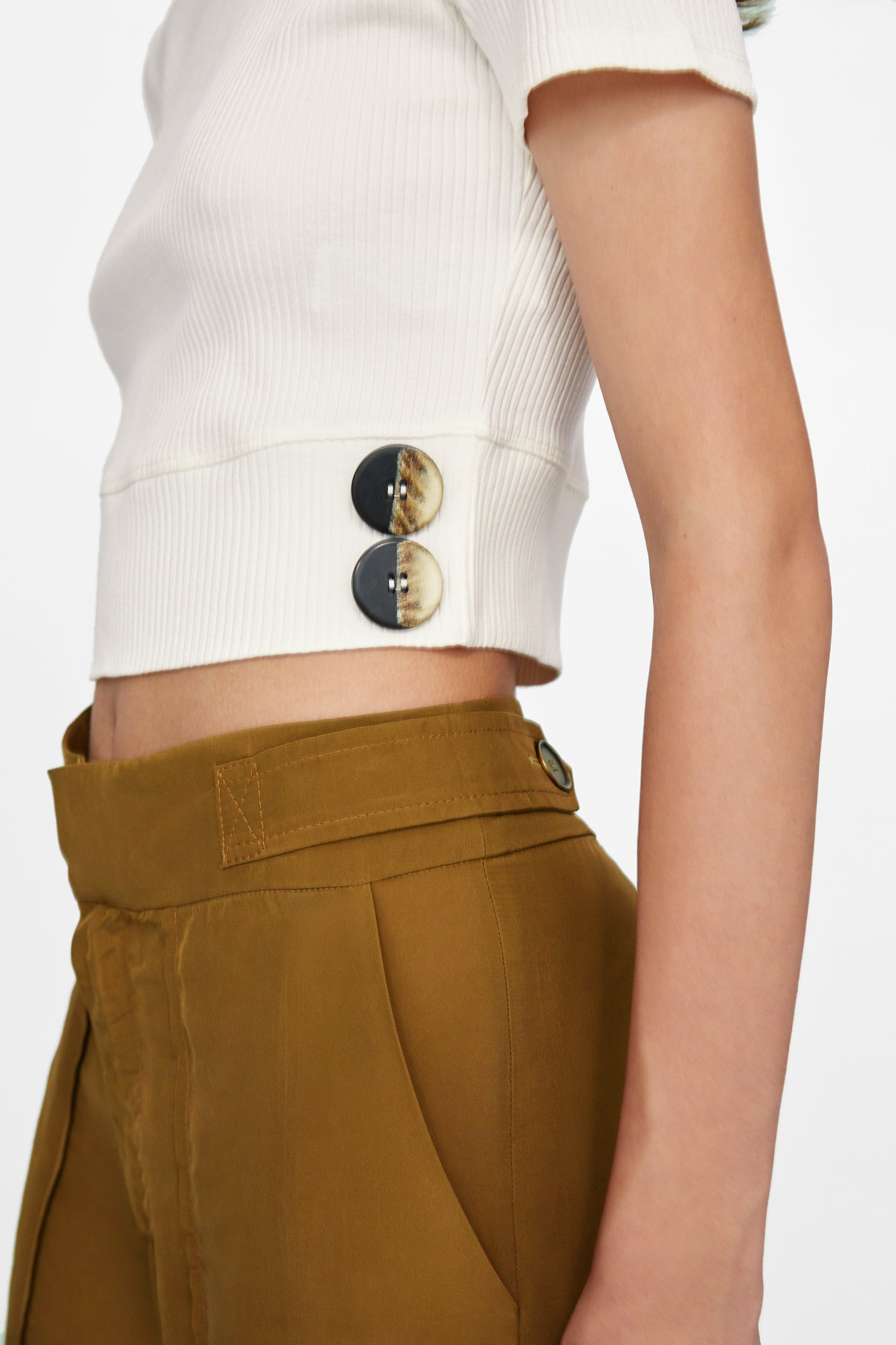 c0954abc Image 3 of BUTTONED CROP TOP from Zara Waist Skirt, High Waisted Skirt,  Cropped