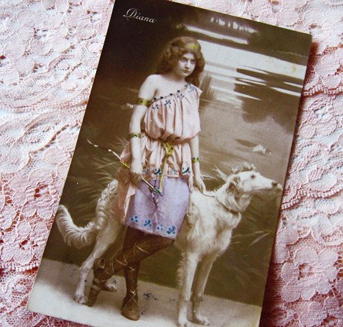 Antique French photo postcard, lady with dog, Diane, Goddess of the hunt, 1900s