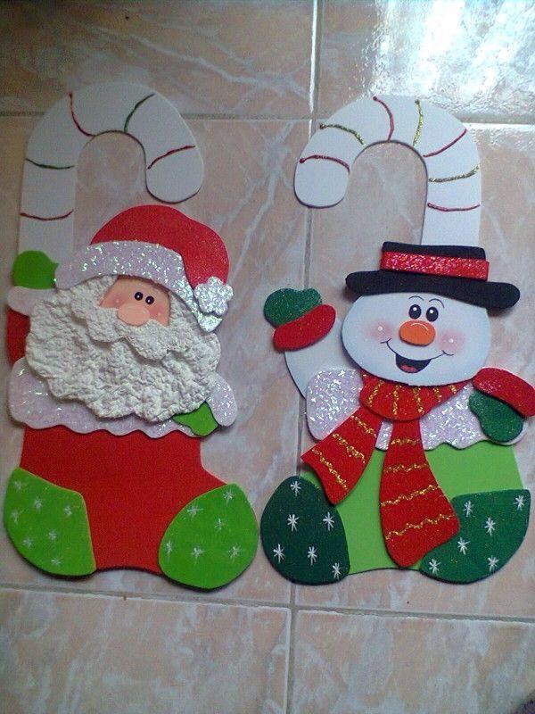Viejos pascueros de goma eva foamy apliques de navidad - Manualidades navidad goma eva ...