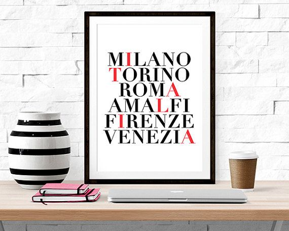 Details:  Print quote: Milano, Torino, Roma, Amalfi, Firenze, Venezia (highlighted letters spell Italia)  Print size: 8 X 10 (for easy