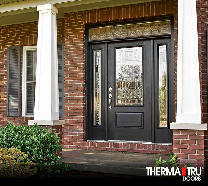 3 4 Lite 1 Panel Painted Fiberglass Entry Door With Decorative Glass By Therma Tru Exterior Doors Fiberglass Entry Doors Painted Exterior Doors