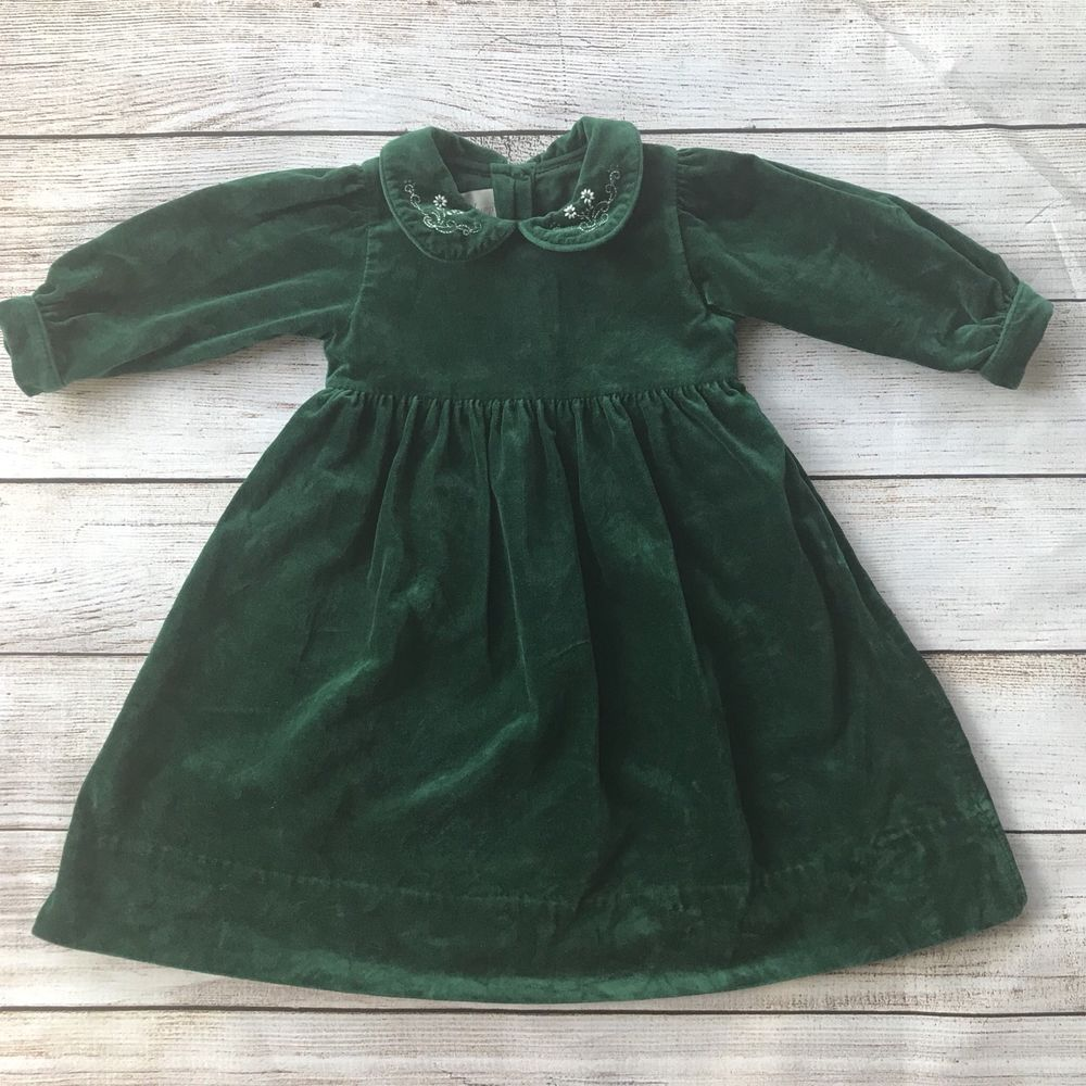 Strasburg Baby Girl Green Velvet Dress 24 Months Long Sleeve