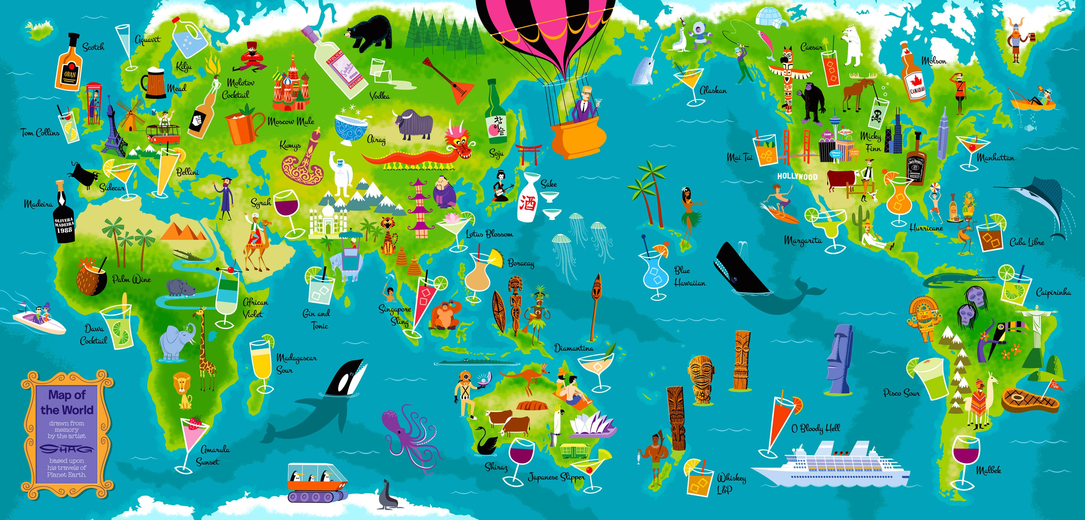 Shag large map shag pinterest retro art artsy fartsy and artist shag art map of the world gumiabroncs Images