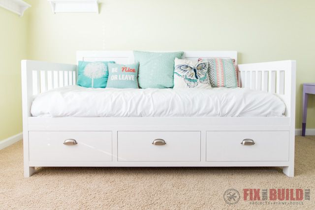 Diy Daybed With Storage Drawers Twin Size Bed Girls Bed With